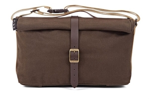 Roll Top Bag in Khaki waxed canva